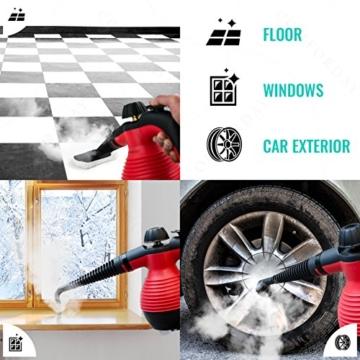 ALL IN ONE Comforday DAMPFREINIGER Steam Cleaner für Boden, Fenster, Autositze, Arbeitsflächen, Mülleimer, Kühlschrank, Schneidebretter, Badezimmer, Polster, Matratze, Vorhänge, Teppiche u. KatzenWC - 4